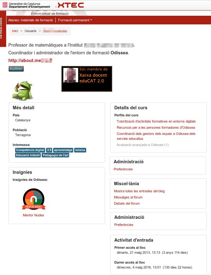 resum del perfil d'usuari
