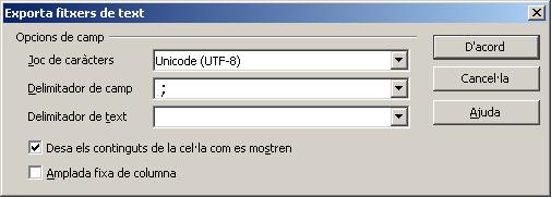 Exportació del fitxer csv